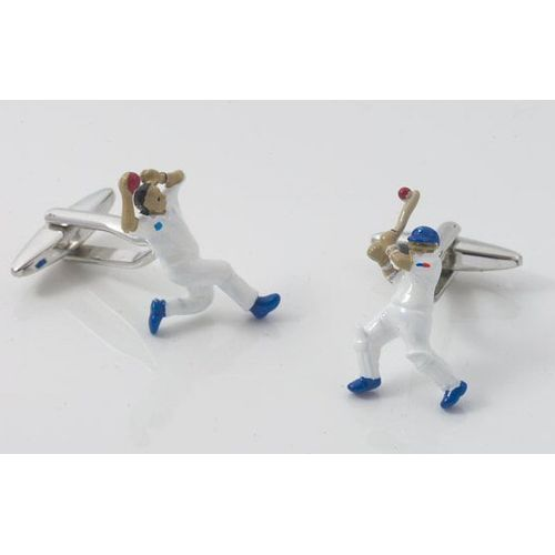 Cricket player in action novelty sports cufflinks
