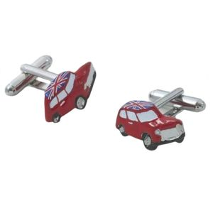Red Mini Car with UK Union Jack Flag Roof Cufflinks