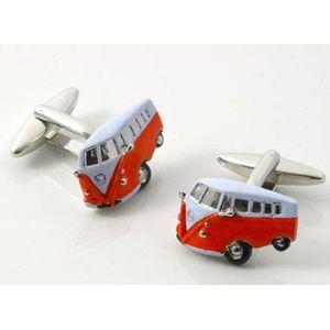 VW Camper Van Cufflinks - Orange & White