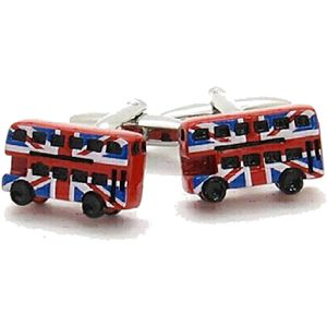 Red London Bus with UK Union Jack Flag Cufflinks