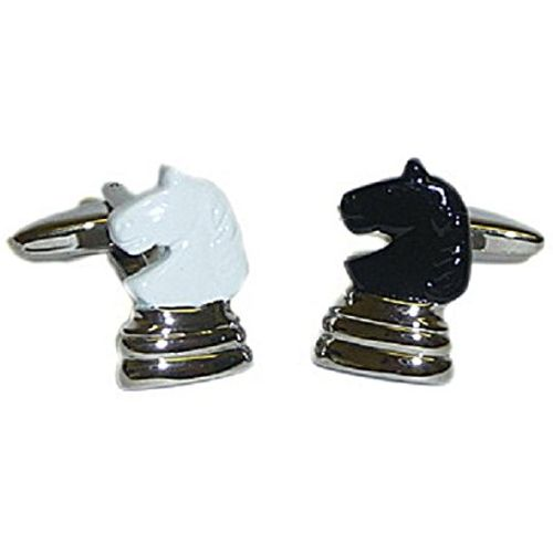 Novelty Chess Knight Cufflinks one black and one white.
