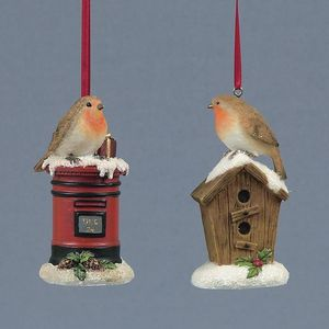 Set of 2 Robins Christmas Tree Decorations.