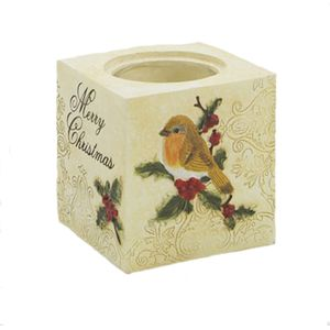 Merry Christmas Robin Tealight Candle Holder