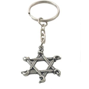 English Pewter Swords Star Keyring