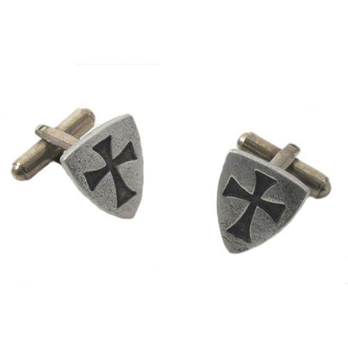 English Pewter Templar Shield Cufflinks