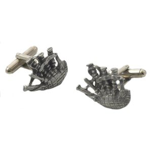 English Pewter Scottish Bagpipes Cufflinks