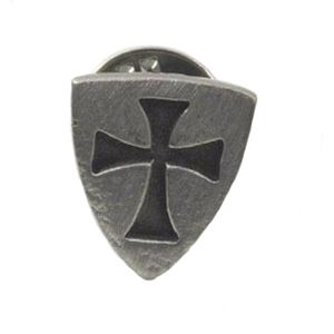 English Pewter Templar Shield Tie Pin Badge