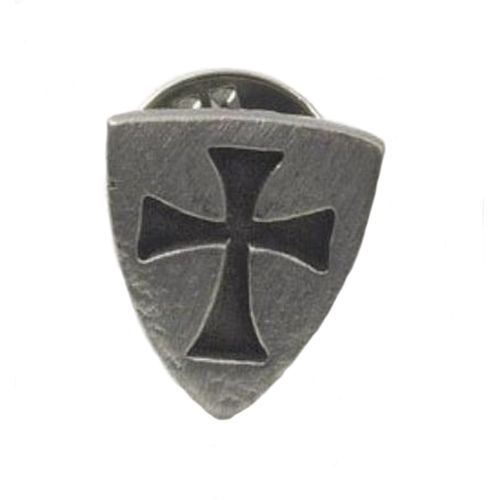 English Pewter Templar Shield Tie Pin Badge