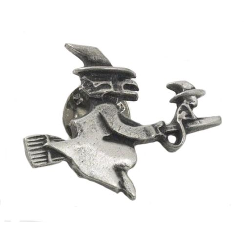 English Pewter Witch and Cat Tie Pin Badge