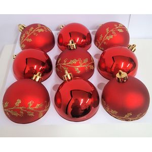 Christmas Tree Baubles - Shatterproof Red Pack of 9 Assorted