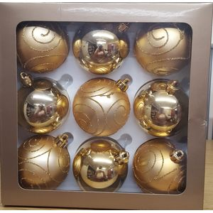 Pack of 9 Gold Tree Decoration Baubles