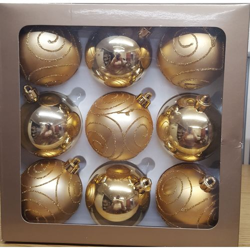 Christmas Tree Baubles - Shatterproof Gold Pack of 9 Assorted