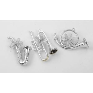Christmas Tree Hanging Decorations - Silver Musical Instrument Pack of 3 Asstd