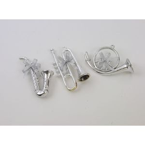 Set of 3 Silver Musical Instrument Tree Decorations