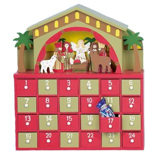 Advent Calendar - Wooden Nativity with Numbered Drawers