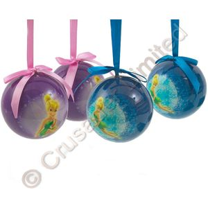 Disney Tinker Bell Decoupage Christmas Tree Baubles - Pack of 4 Assorted