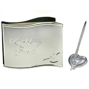 Silver Plated Luxury Wedding Guest Book & Pen Set