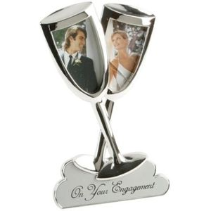 Engagement Silver Plated Champagne Flutes Photo Frame