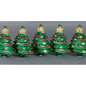 Festive Hanging Ornaments - Pack of 5 Christmas Trees (Green)