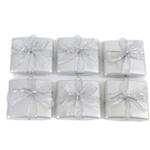Christmas Tree Baubles - Shatterproof Silver Gift Box Pack of 6