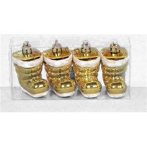 Christmas Tree Hanging Decorations - Gold Santa Boot Pack of 4
