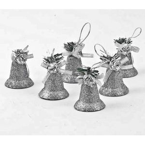 Christmas Tree Hanging Decorations - Silver Glitter Bell Pack of 6