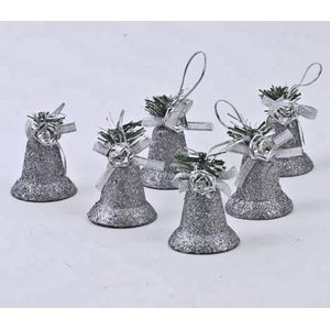 Pack of 6 Glitter Bells Tree Decorations - Silver