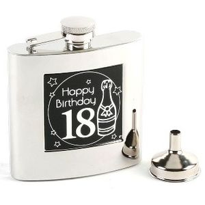 Harvey Makin 6oz Stainless Steel Hip Flask - 18th Birthday