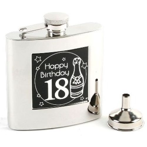 18th Birthday Hip flask 6oz stainless steel