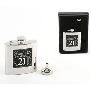 Harvey Makin 6oz Stainless Steel Hip Flask - 21st Birthday