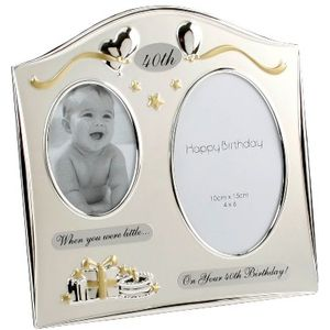 40th Birthday double then & now photo frame