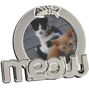"""Juliana Silver Plated Photo Frame 3"""" x 3"""" - Meow (Cat)"""