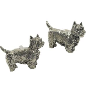 English Pewter Westie Dog Cufflinks