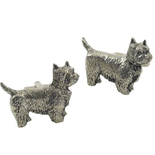 Westie Dog English Pewter novelty cufflinks with Gift Box