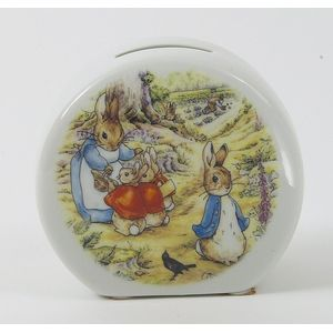 Beatrix Potter Porcelain Money Bank - Mrs Rabbit & Bunnies