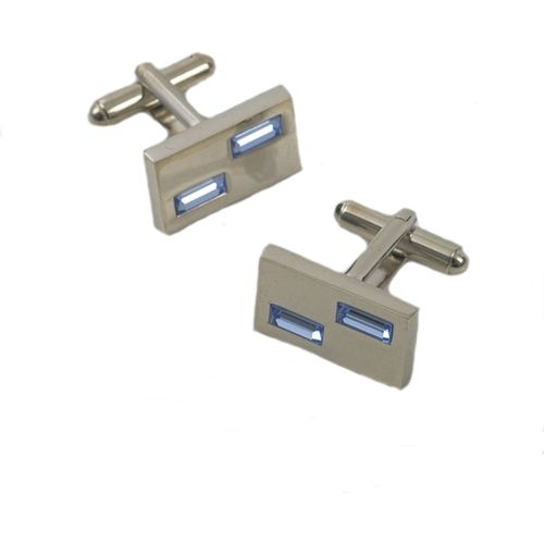 Mens Cufflinks with two Light Blue Crystals