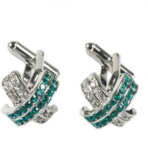Crossed Cufflinks with green & white crystals