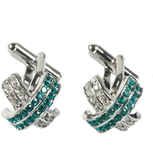 Green and White Crossed Crystal Cufflinks