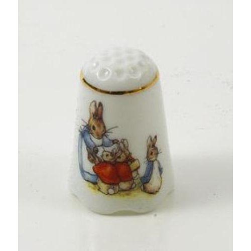 Reutter Porcelain Beatrix Potter Mrs Rabbit & Bunnies  Thimble 56.256/0