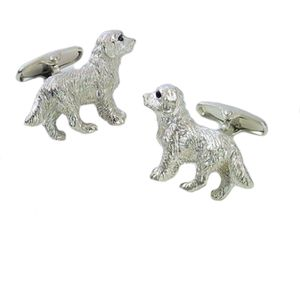 Silver Retriever Dog Cufflinks