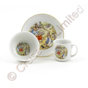 Beatrix Potter Breakfast Set: Plate Bowl & Mug