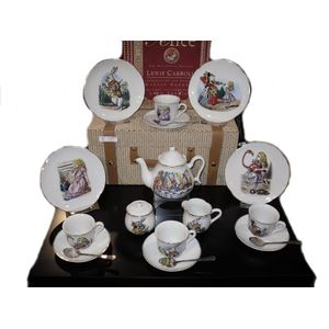 Reutter Porcelain Alice in Wonderland Tea Set in Picnic Hamper