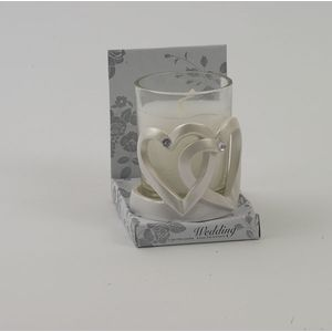 Wedding Candle in holder, entwined hearts design