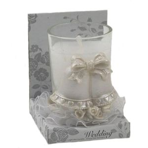 Wedding Candle in holder, Bells design