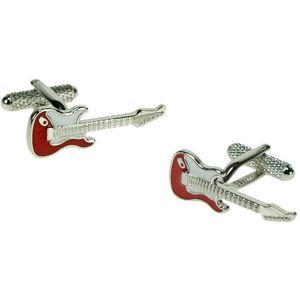 Red & White Electric Guitar Cufflinks