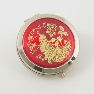 Compact Mirror - Red with Gold Peacock Pattern