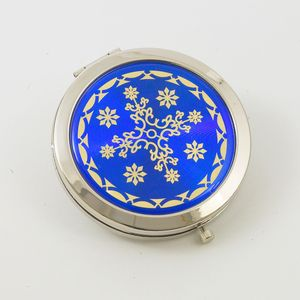 Compact Mirror - Blue & Gold Pattern