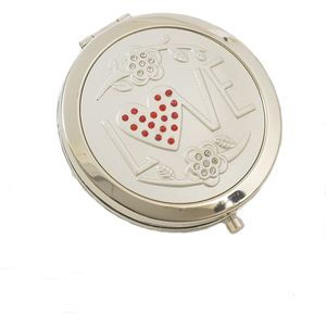 Compact Mirror - Love Crystal Heart Pattern
