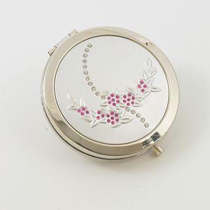 Compact Mirror - Diamante Flower Pattern
