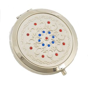 Compact Mirror - Swirls with Red & Blue Crystals Pattern